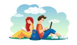 Vektorvänner pojke och flicka spenderar tillsammans tid Kvinnaläsebokman som arbetar på bärbar datorstudenter som sitter på gräs royaltyfri illustrationer