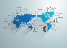 Vektorvärldskarta med det idérika teckningsdiagrammet och grafer Arkivfoto