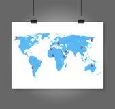 Vektorvärldskarta med infographic beståndsdelar Arkivbilder