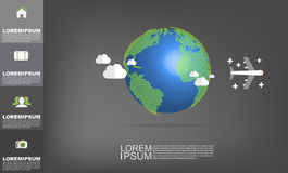 Vektorvärldskarta med kopieringsutrymmevektorn på mörk grå bakgrund stock illustrationer
