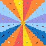 Vektorvårbakgrund med sol- och vårsymboler Arkivbilder
