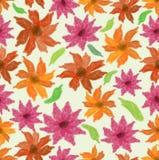 Vektorvåren eller sommarbackgroound med grungevattenfärgen blommar i rött och apelsinen, sömlös tegelplatta Arkivbilder