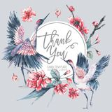 Vektorvårinbjudan, blom- bukett för tappning med rosa blomma filialer av den körsbärsröda persikan royaltyfri illustrationer