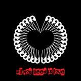 Vektorvalentin kort för hälsning för punkrock för dag unikt med vita säkerhetsnålar som formar en hjärta Arkivfoton