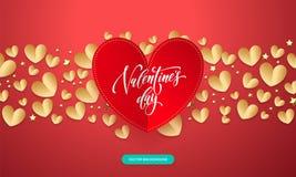 Vektorvalentinbakgrund med romantiskt rött och guld- papper klippte hjärtamodellen med dag f för ` s för valentin för kalligrafib stock illustrationer