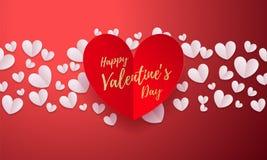 Vektorvalentinbakgrund med romantiskt rött papper klippte hjärtamodellen med den guld- dagen för ` s för valentin för kalligrafib royaltyfri illustrationer