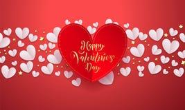 Vektorvalentinbakgrund med romantiskt rött papper klippte hjärtamodellen med den guld- dagen för ` s för valentin för kalligrafib stock illustrationer