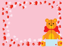 VektorValentinsgruß `s Teddybär betreffen Rosa Lizenzfreie Stockfotos