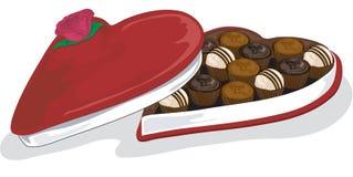 VektorValentinsgruß und sortierte Schokoladen lizenzfreie abbildung