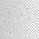 Vektorvattendroppar på exponeringsglas Regna tappar stock illustrationer