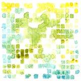 Vektorvattenfärgabstrakt begrepp kvadrerar och plaskar bakgrund Royaltyfri Bild