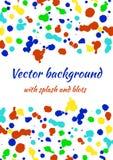 Vektorvattenfärgbakgrund med färgrika färgpulverfläckar, färgstänk och borsteslaglängder Royaltyfri Fotografi