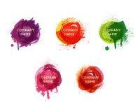 Vektorvattenfärgbakgrund Vattenfärgfärgstänk- och pricktextur Konstnärlig handdrawn bakgrund Målarfärgsplatuppsättning fotografering för bildbyråer