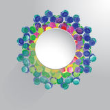 Vektorvattenfärgcirkel med färgrika regnbågeklickar stock illustrationer