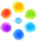 Vektorvattenfärgefterföljd, regnbågemålarfärgfläckar Royaltyfri Fotografi