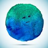 Vektorvattenfärgen och skissar illustrationen av den härliga kvinnan i cancerzodiaktecken med vattenfärgbakgrund Royaltyfri Bild