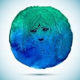 Vektorvattenfärgen och skissar illustrationen av den härliga kvinnan i Fiskarnazodiaktecken med vattenfärgbakgrund Arkivbild