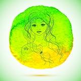 Vektorvattenfärgen och skissar illustrationen av den härliga kvinnan i Jungfruzodiaktecken med vattenfärgbakgrund Royaltyfri Bild