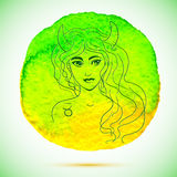 Vektorvattenfärgen och skissar illustrationen av den härliga kvinnan i Oxenzodiaktecken med vattenfärgbakgrund Royaltyfria Foton