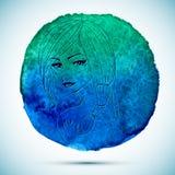 Vektorvattenfärgen och skissar illustrationen av den härliga kvinnan i Skorpionzodiaktecken med vattenfärgbakgrund Royaltyfria Foton