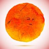 Vektorvattenfärgen och skissar illustrationen av den härliga kvinnan i Skyttenzodiaktecken med vattenfärgbakgrund Royaltyfri Foto