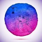 Vektorvattenfärgen och skissar illustrationen av den härliga kvinnan i Vågzodiaktecken med vattenfärgbakgrund Arkivfoton