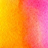 Vektorvattenfärgguling, apelsin och rosa färgbakgrund Royaltyfria Bilder