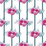VektorvattenfärgHund-rosor med sömlös modellbakgrund för band stock illustrationer