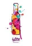 Vektorvattenfärgillustration av den färgrika vinflaskan och hand dragen bokstäver royaltyfri illustrationer