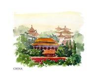 Vektorvattenfärgillustration av den Kina sighter och seacoasten med textstället Fotografering för Bildbyråer
