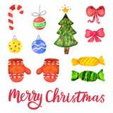 Vektorvattenfärgjul och garneringbeståndsdelar för nytt år Uppsättningen av handen dragen glad jul planlägger beståndsdelar Arkivbild