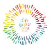 Vektorvattenfärgkrans med färgrika regnbågedroppar stock illustrationer