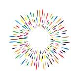 Vektorvattenfärgkrans med färgrika regnbågedroppar av målarfärgsp Royaltyfri Bild