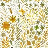 Vektorvattenfärgmodellen, blom- textur med den drog handen blommar och växter blom- prydnad blom- original för bakgrund Fotografering för Bildbyråer