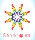 Vektorvattenfärgstjärna med färgrika regnbågeklickar Royaltyfria Foton