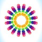 Vektorvattenfärgstjärna med färgrika regnbågeklickar Royaltyfria Bilder
