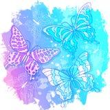 Vektorvattenfärgteckningen, gör sammandrag kulöra fjärilar på rosa färg- och blåttbakgrund royaltyfri illustrationer
