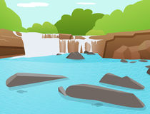 Vektorvattenfallbakgrund, Tat Ton Waterfall, Thailand Royaltyfri Bild