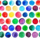 Vektorvattenfärgen cirklar (den belade med tegel) sömlösa modellen, Retro hand dragen cirkelprydnad Runda former för vattenfärg R Arkivbild