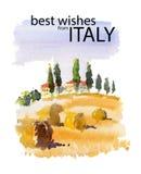 Vektorvattenfärgillustration av naturen för sommar för sida för land för Italien bysköld den soliga med textstället Arkivfoto