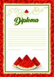 Vektorvattenmelonram Bakgrund för inbjudningar, diplom, certifikat, vykort, baner royaltyfri illustrationer