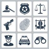 Vektorverbrecher-/-polizeiikonen eingestellt Stockfoto
