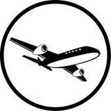 Vektorverkehrsflugzeugikone Stockfotografie