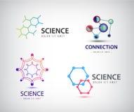 Vektorvetenskapslogoer, kemisymboler, biologi royaltyfri illustrationer