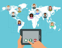 Vektorvideokonferenz-Anrufkonzept Stockbild