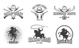 Vektorvilda västern- och rodeoetiketter royaltyfri illustrationer