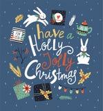 Vektorvinterkortet med julbeståndsdelar och bokstäver` har en järnekJolly Christmas `, Arkivbilder