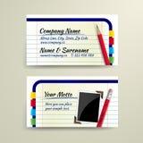 VektorVisitenkarte mit Bleistift und Notizbuch Lizenzfreie Stockfotos