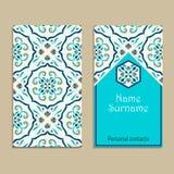 Vektorvisitenkarteschablone Portugiese, marokkanisch; Azulejo; Arabisch; asiatische Verzierungen stock abbildung