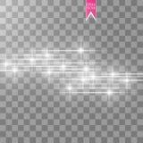 Vektorvit blänker vågabstrakt begreppillustrationen Mousserande partiklar för vit slinga för stjärnadamm och hastighetslinjer som Fotografering för Bildbyråer